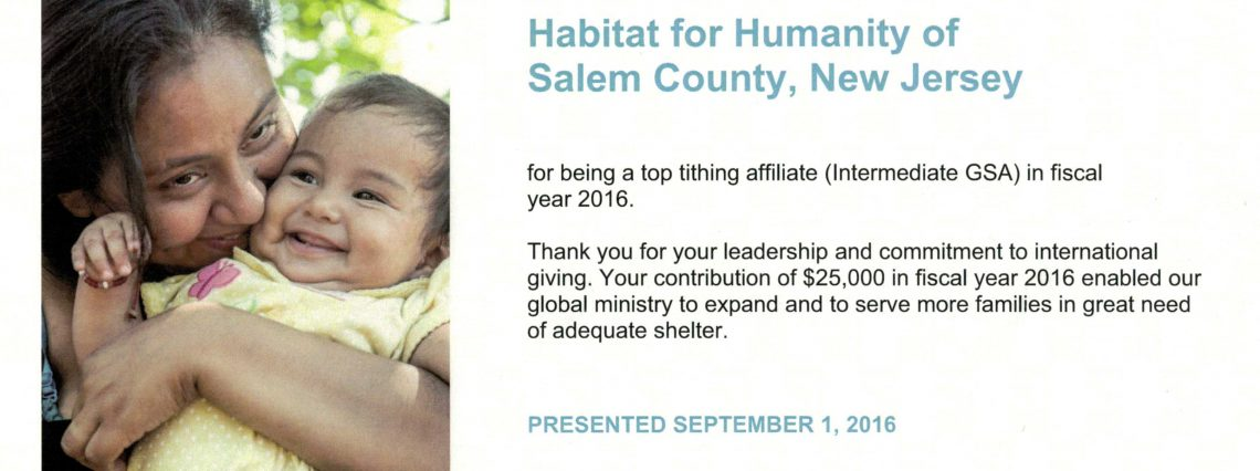 tithe2016 1140x426 - Habitat for Humanity of Salem County the Top Tithing Affiliate