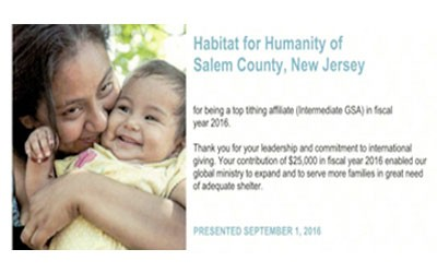 Habitat for Humanity of Salem County the Top Tithing Affiliate