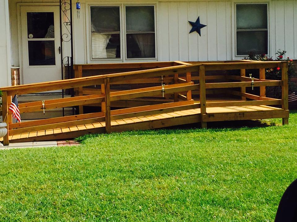 Wheelchair ramp after it has been stained