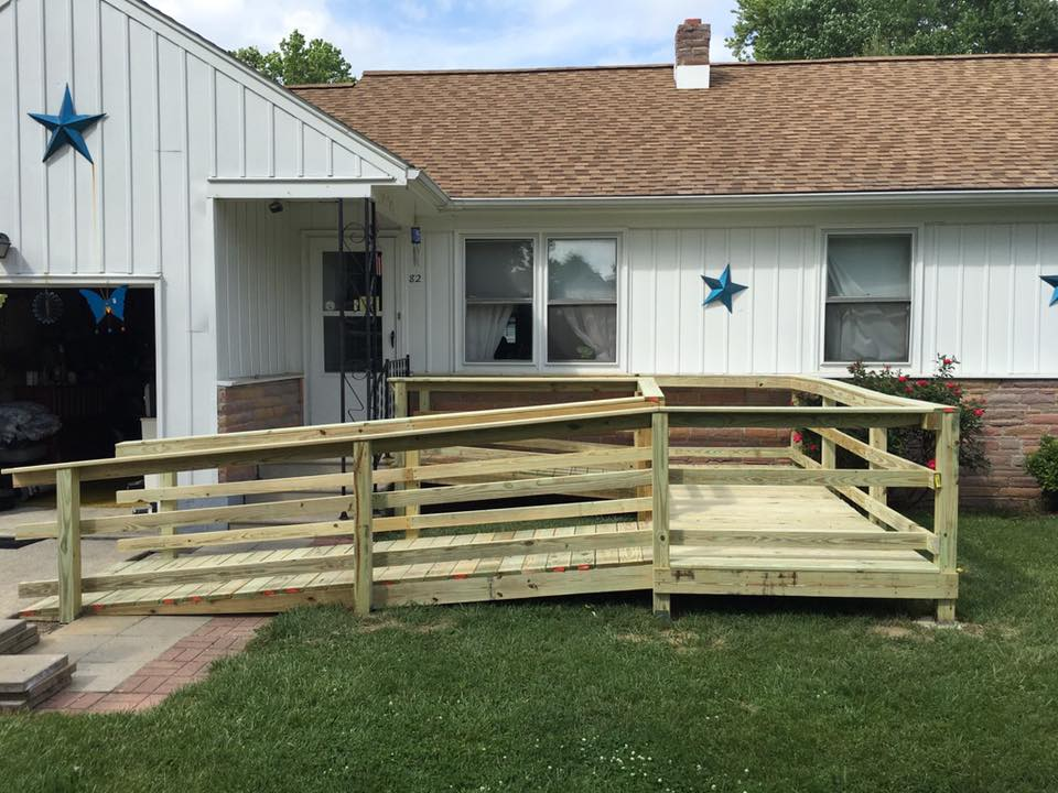 New wheelchair ramp on side of house