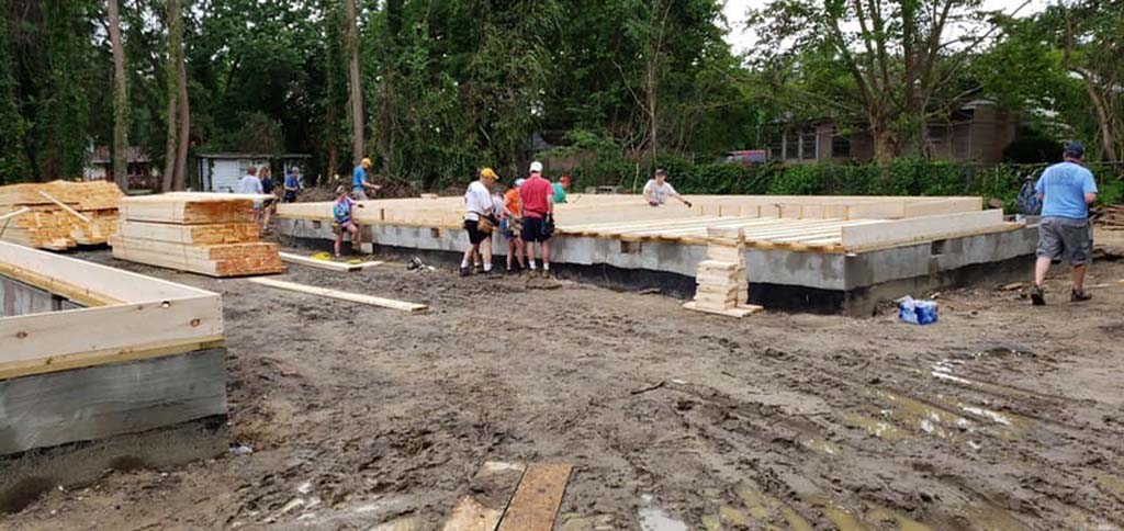 Framing starting on the foundation of a home