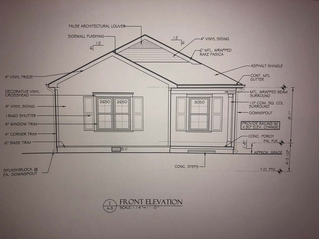 Blueprint drawing of front of house