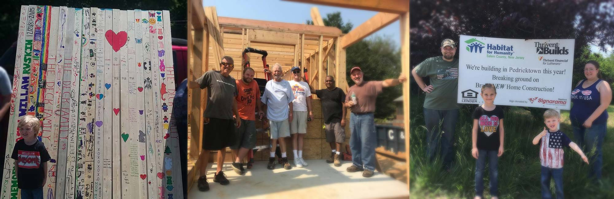 Group standing in middle of framing for new home
